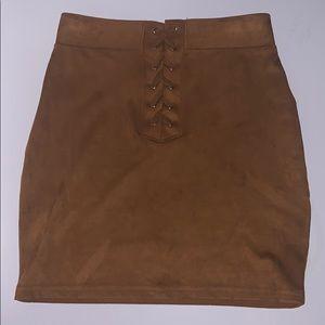 Faux suede lace up pencil skirt